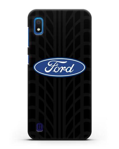 Чехол c эмблемой Ford с протектором шин силикон черный для Samsung Galaxy A10 [SM-A105F]
