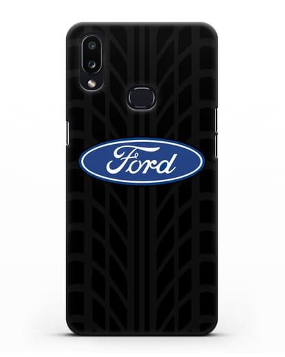 Чехол c эмблемой Ford с протектором шин силикон черный для Samsung Galaxy A10s [SM-F107F]