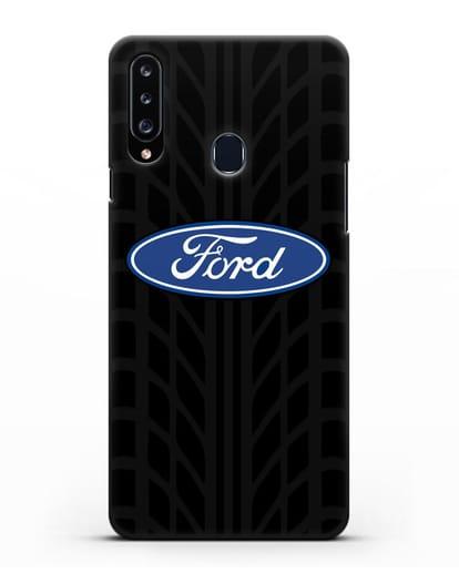Чехол c эмблемой Ford с протектором шин силикон черный для Samsung Galaxy A20s [SM-A207FN]