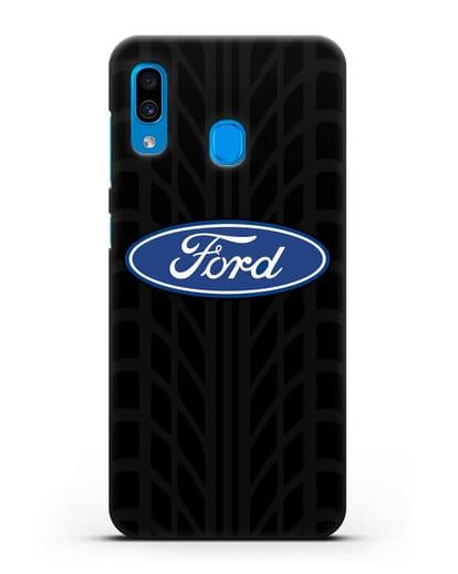 Чехол c эмблемой Ford с протектором шин силикон черный для Samsung Galaxy A30 [SM-A305FN]