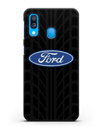 Чехол c эмблемой Ford с протектором шин силикон черный для Samsung Galaxy A40 [SM-A405F]
