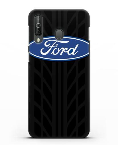 Чехол c эмблемой Ford с протектором шин силикон черный для Samsung Galaxy A40s [SM-A507FN]