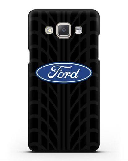 Чехол c эмблемой Ford с протектором шин силикон черный для Samsung Galaxy A7 2015 [SM-A700F]