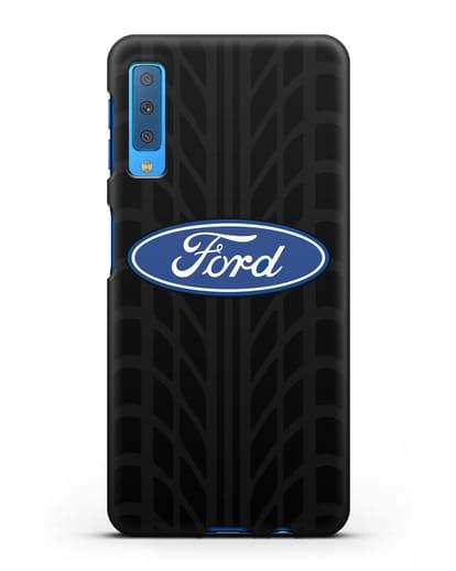 Чехол c эмблемой Ford с протектором шин силикон черный для Samsung Galaxy A7 2018 [SM-A750F]