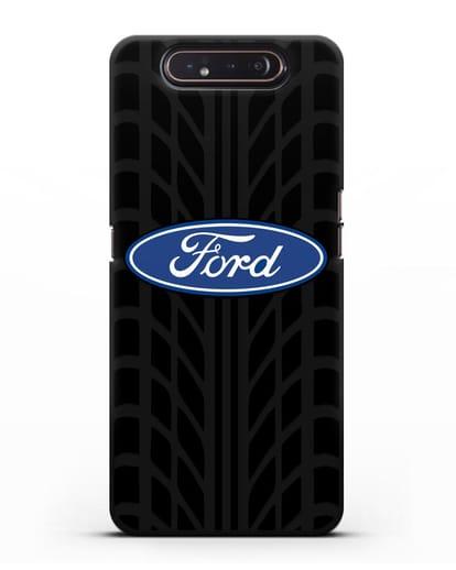 Чехол c эмблемой Ford с протектором шин силикон черный для Samsung Galaxy A80 [SM-A805F]