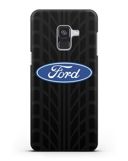 Чехол c эмблемой Ford с протектором шин силикон черный для Samsung Galaxy A8 [SM-A530F]