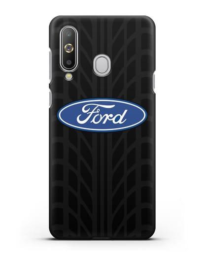 Чехол c эмблемой Ford с протектором шин силикон черный для Samsung Galaxy A8s [SM-G8870]